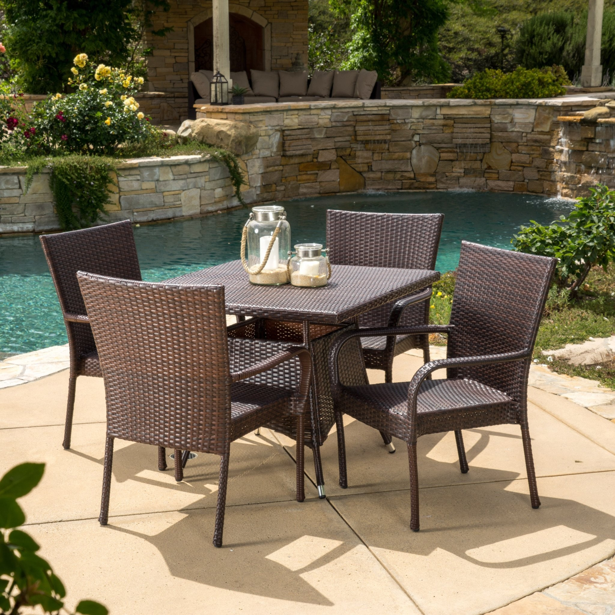 Kory Outdoor 5pc Multibrown Wicker Square Dining S...
