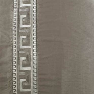 Greco Platinum Embroidered Faux Silk Fabric