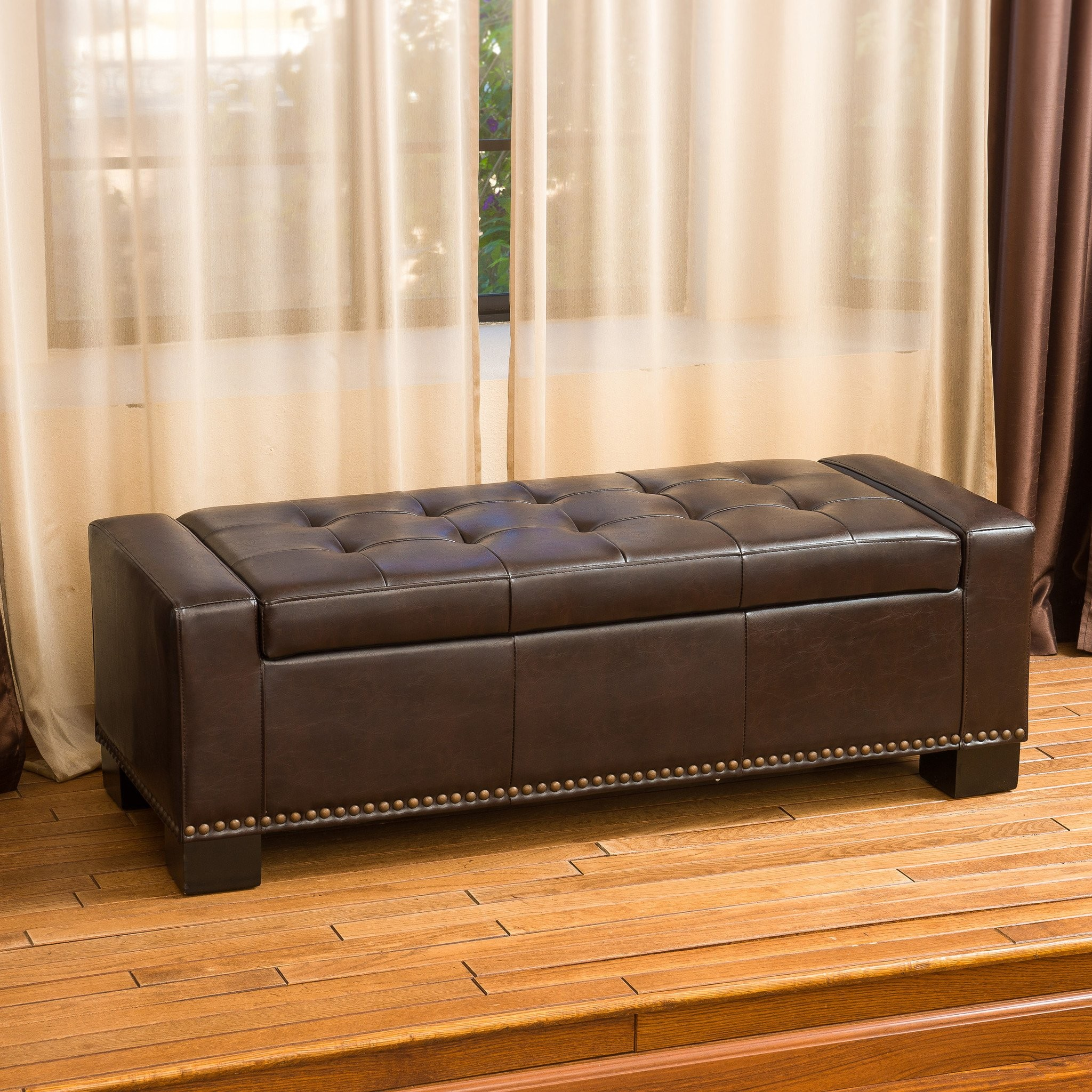 Renata Brown Leather Storage Ottoman