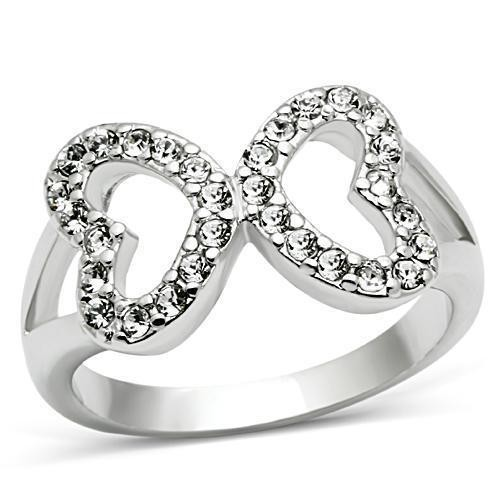 Womens Infinity Hearts Ring - Rhodium Electroplate...