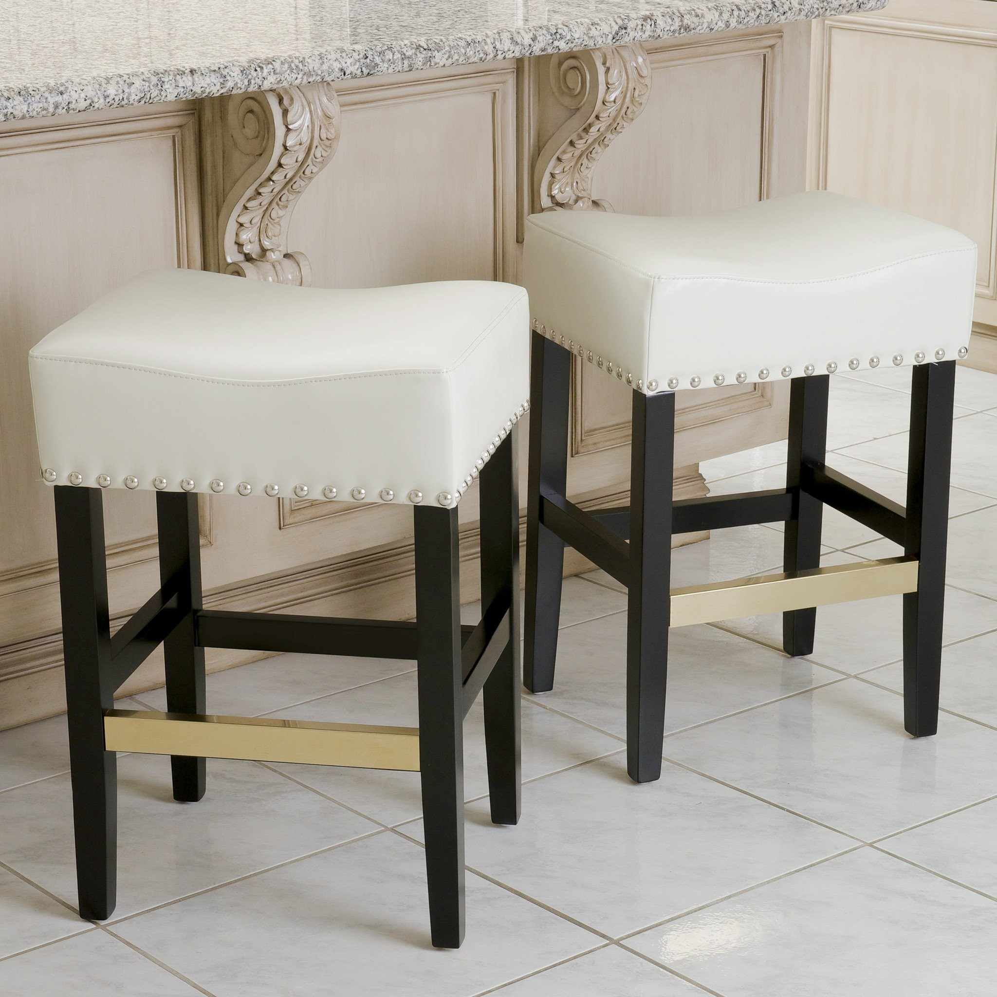 Carmen Ivory Leather Backless Counter Stool  (Set...