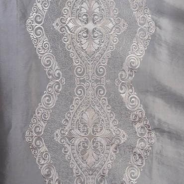 Chai Silver Embroidered Faux Silk Taffeta Fabric