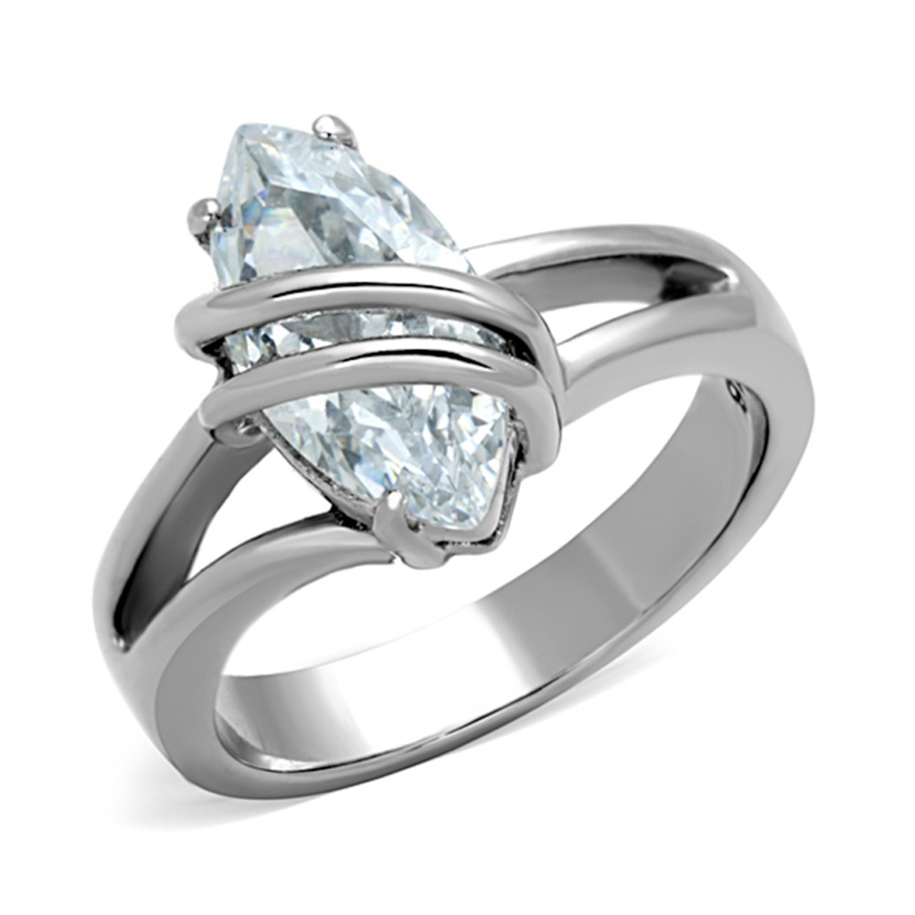 Steel Entangle Wire - CZ Stone Ring - Stainless St...