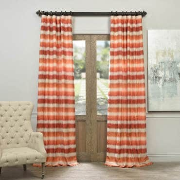 Fiery Sunset Horizontal Stripe Faux Silk Jacquard...