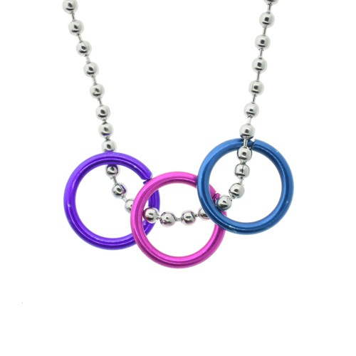 Bi Pride Freedom Rings Necklace - Bisexual LGBT Pr...