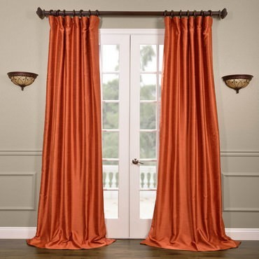 Poppy Fields Yarn Dyed Faux Dupioni Silk Curtain