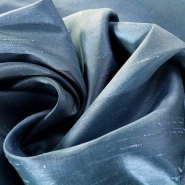 Provencial Blue Vintage Textured Faux Dupioni Silk...