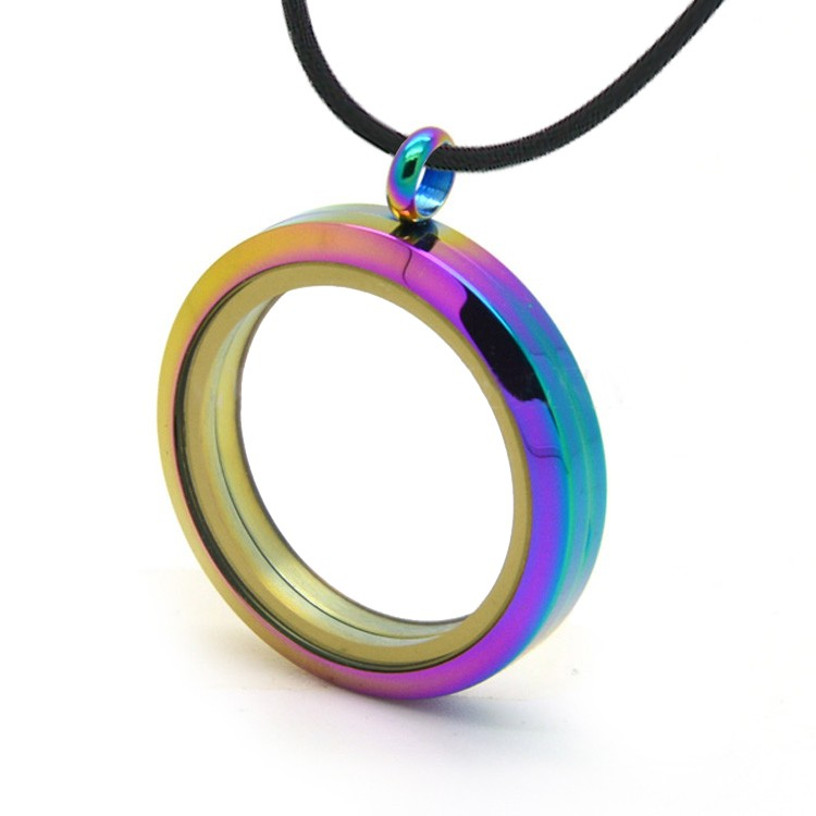 Anodized Rainbow Locket Glass Pendant - For Floati...