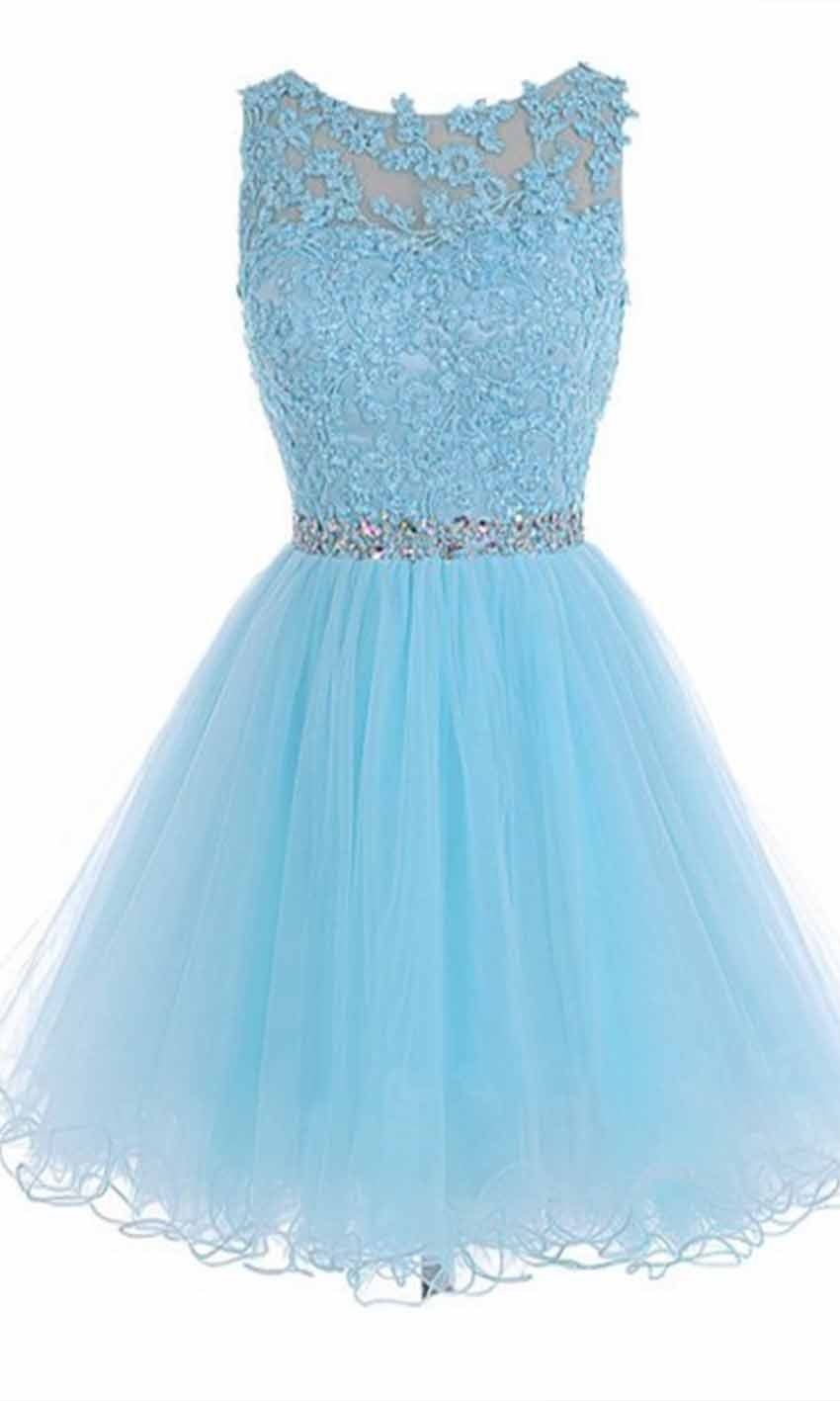Sky Blue High Illusion Short Lace Prom Dresses KSP...