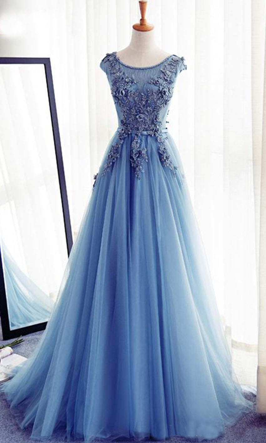 Flowers Embellished Sheer Lace Prom Gowns Lace Up...