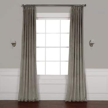 Destiny Grey Plush Velvet Curtain