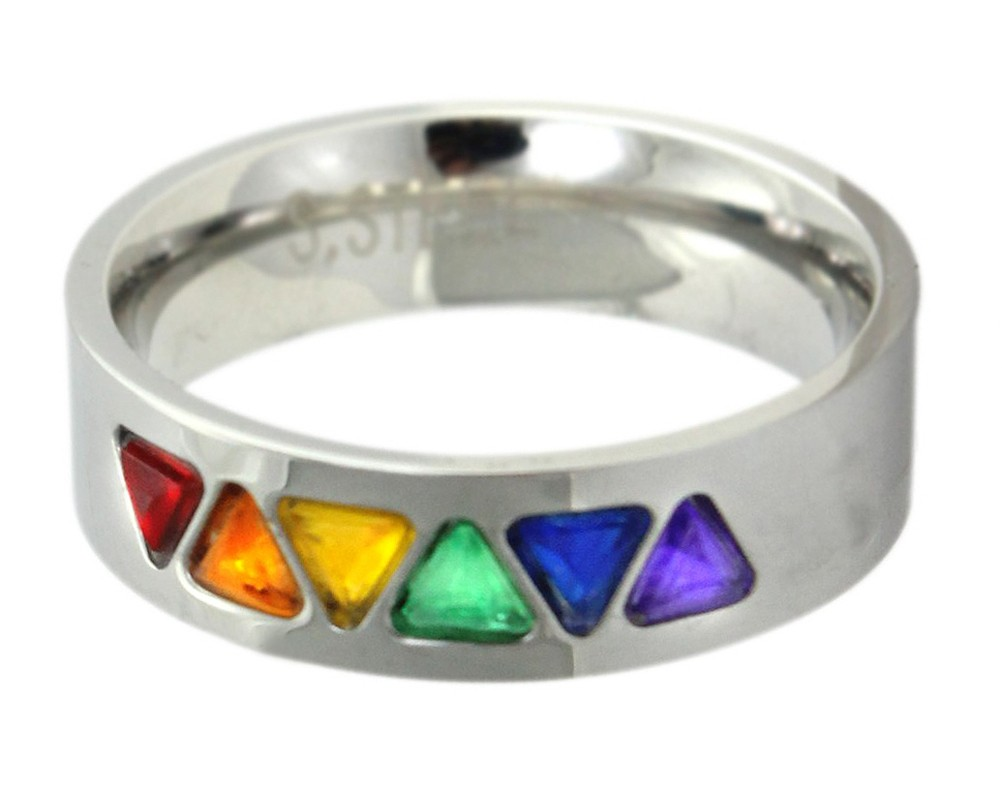 Rainbow CZ Triangles Ring - Gay and Lesbian Pride...