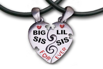 Two Piece - Big Sis & LiL Sis Necklaces - 2 Pe...