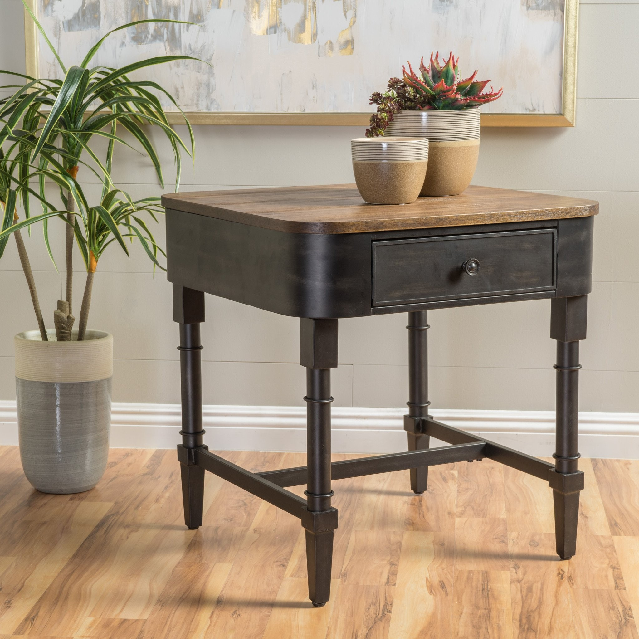 Marcela Archaize Wood Contemporary Side Table