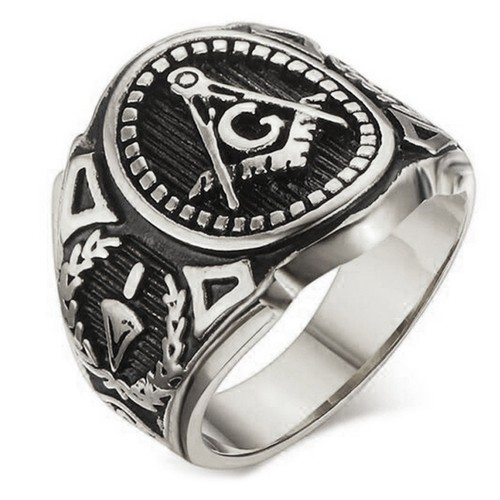 Silver Color Freemason Ring - stainless steel with...