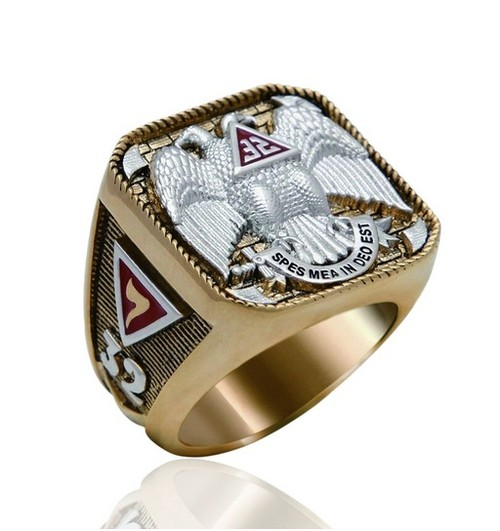 Scottish Rite Freemason Ring / Thick Masonic Ring-...