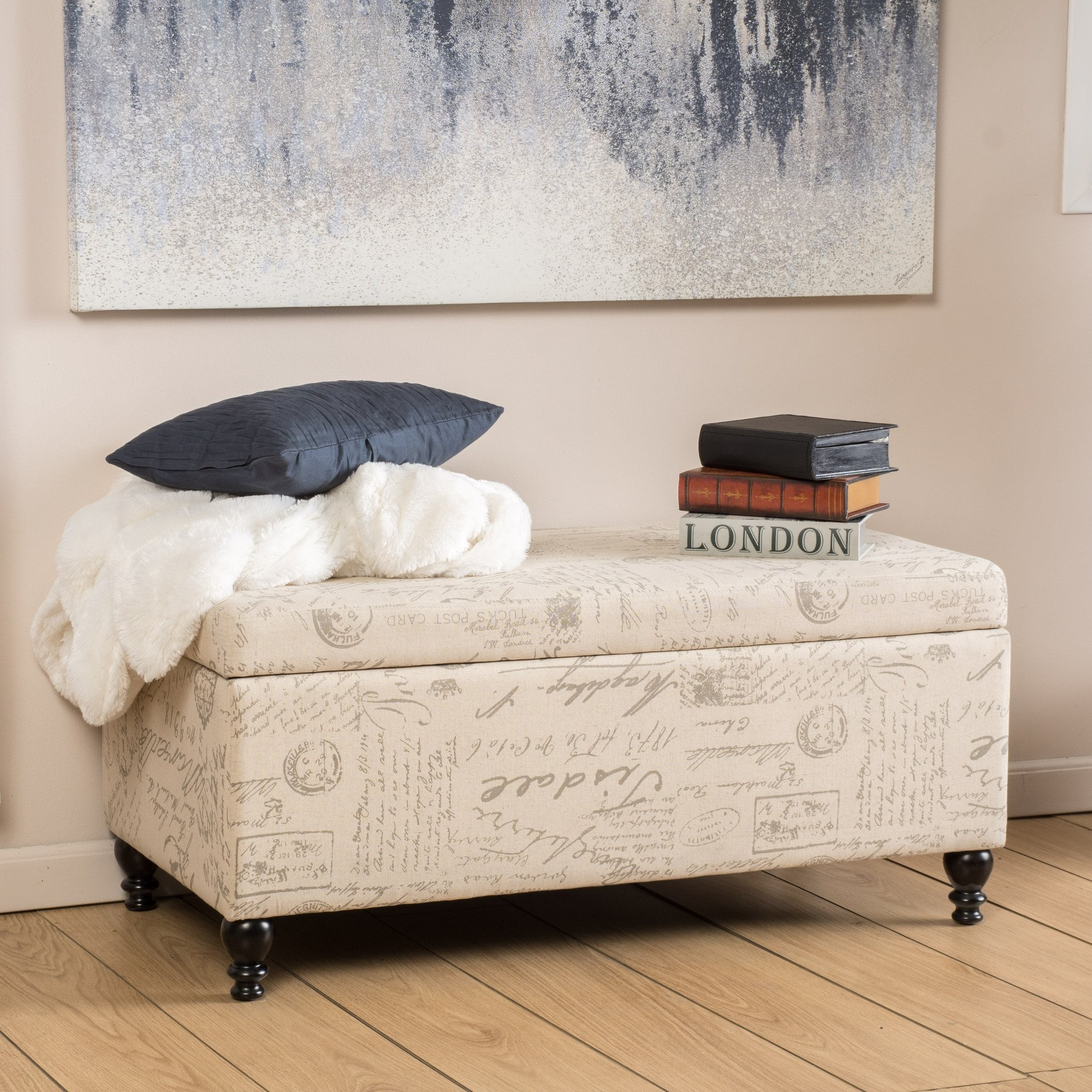 Cerise Fabric Storage Ottoman Bench with French Sc...
