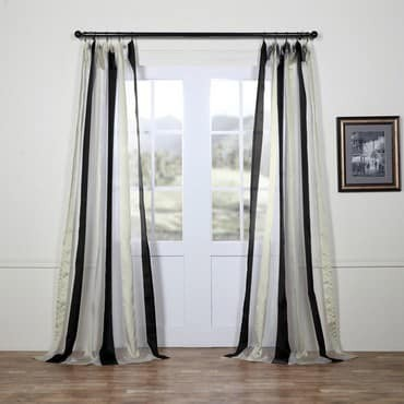 Buffed Black & White Organza Vertical Stripe Sheer...