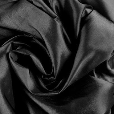 Jet Black Faux Silk Taffeta Fabric