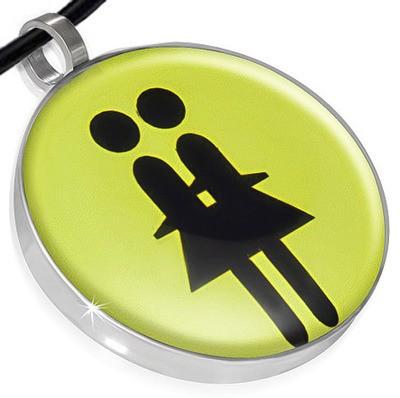 Yellow Lesbian Double Girl Symbol Disc Lesbian Pen...