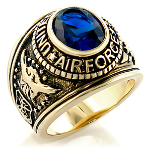 Air Force - USAF Military Ring (Gold with Blue Sto...