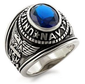 Navy - USN Military Ring (Stainless Steel with Blu...