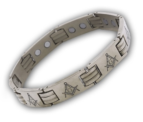 Masonic Bracelet - Stainless Steel (Silver tone) A...