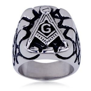 Steel Rocky Face Freemason Ring / Masonic Ring - E...