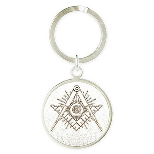 Masonic Keychain with Silver tone and etched Compa...