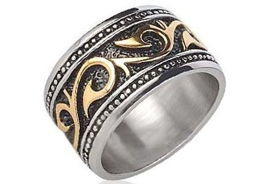 Tribal Ring - Gold & Silver Stainless Steel (1...