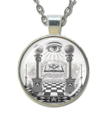 Masonic Glass Necklace - Eye of Providence and Pil...