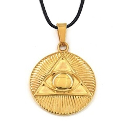 Freemason Pendant - Gold Plated Stainless Steel wi...