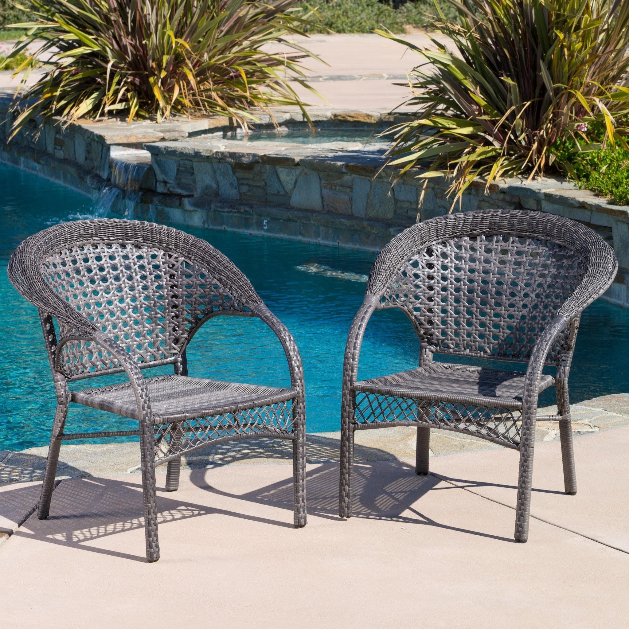 Malibu Outdoor Grey Wicker Dining Chairs (Set of 2...