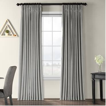 Signature Silver Grey Extra Wide Velvet Blackout P...