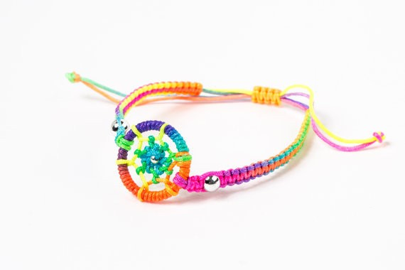Lesbian and Gay Pride Rainbow Dream Catcher Wristl...