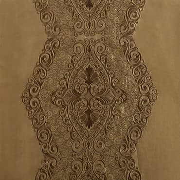 Chai Embroidered Faux Silk Fabric
