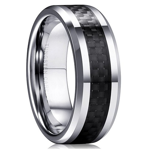 8mm - Unisex or Men's Tungsten Wedding Band. S...
