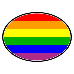 Full Rainbow Oval Mini Car Magnet - LGBT Gay and L...