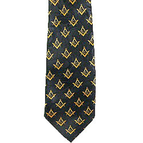 Masonic Neck Tie - Black and Yellow Polyester long...