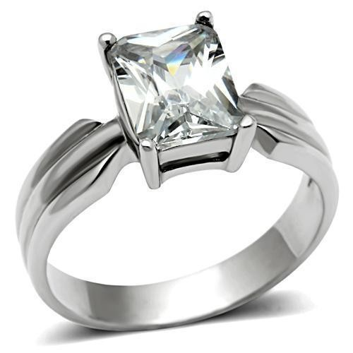 Womens Sallys Sleek Square Stone CZ Ring - Stainle...