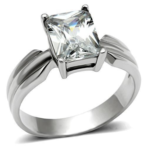 Womens Sallys Sleek Square Stone CZ Ring - Stainle...