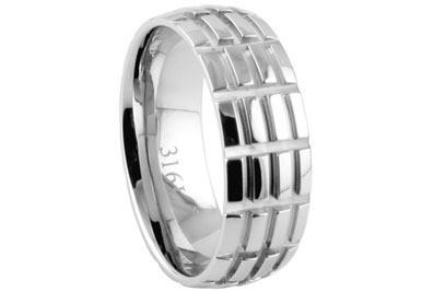 Stainless Steel - Mens Hatch Mark Wedding Ring (8m...