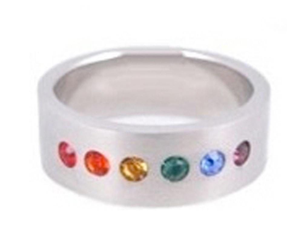 Single Line CZ - Half Rainbow Ring - Gay & Les...