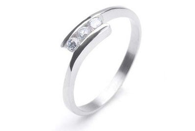 Womens Stainless steel Commitment ring w/ Triple C...