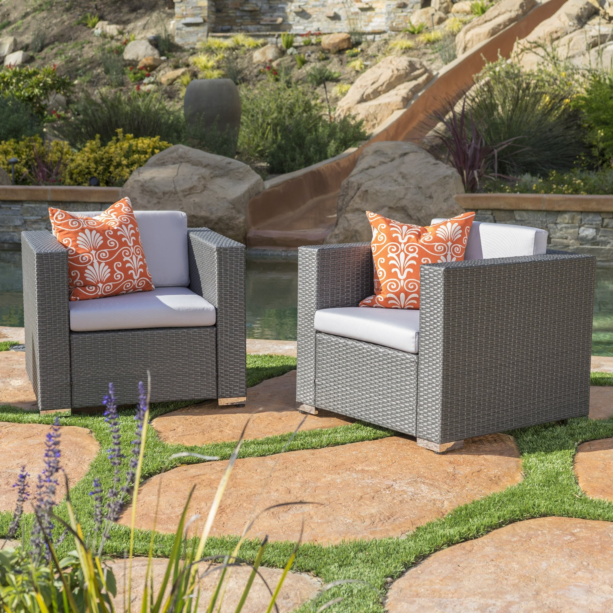 Verin Outdoor Grey Wicker Club Chair With Silver W...