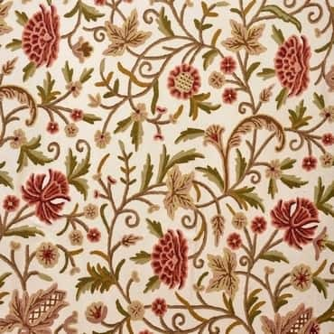 Paloma Embroidered Cotton Crewel Fabric