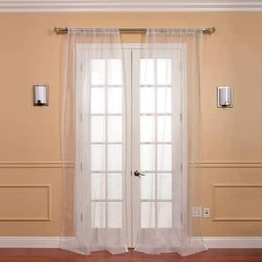 Pair (2 Panels) White Solid Faux Organza Sheer Cur...