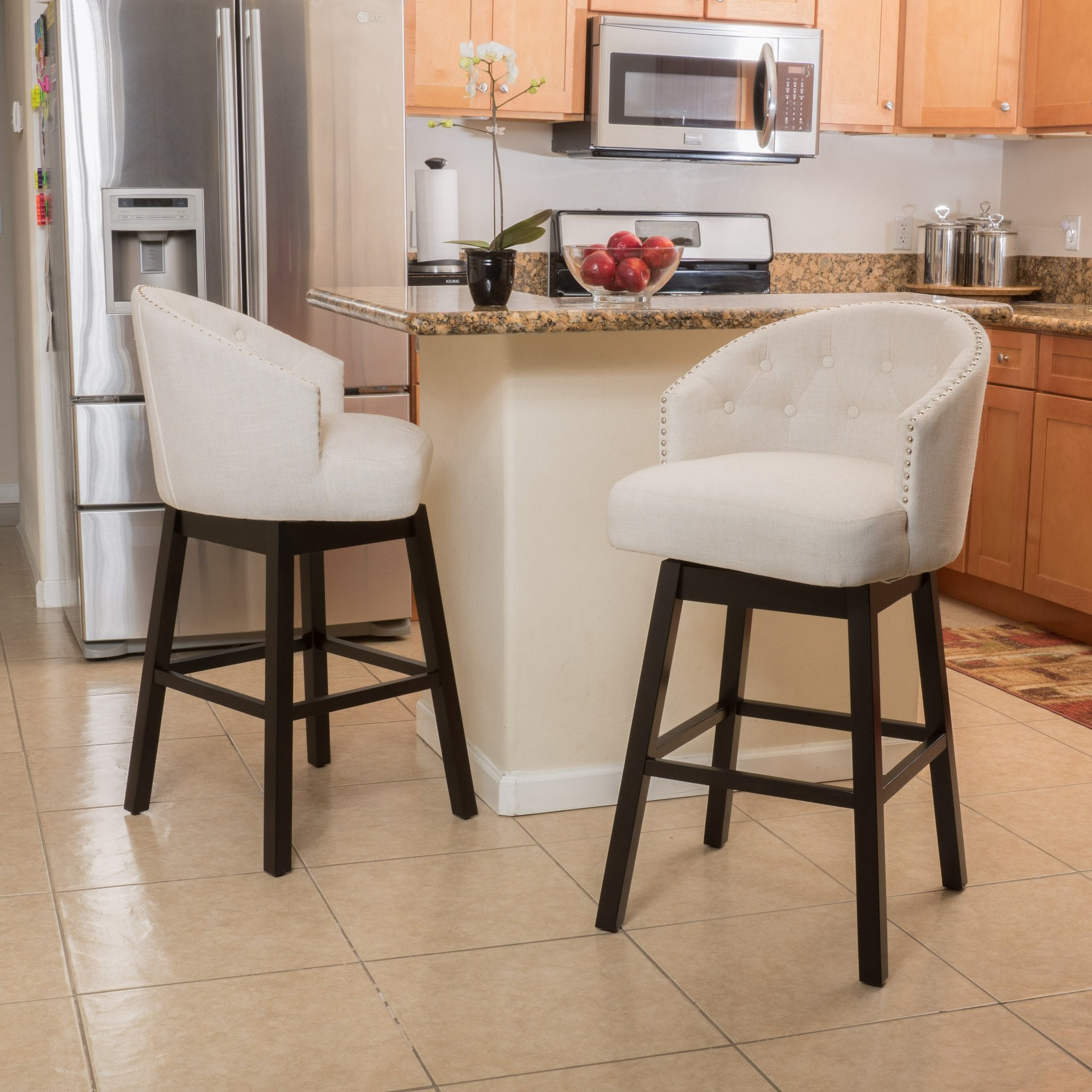 Westman Beige Fabric Swivel Backed Barstool (Set o...
