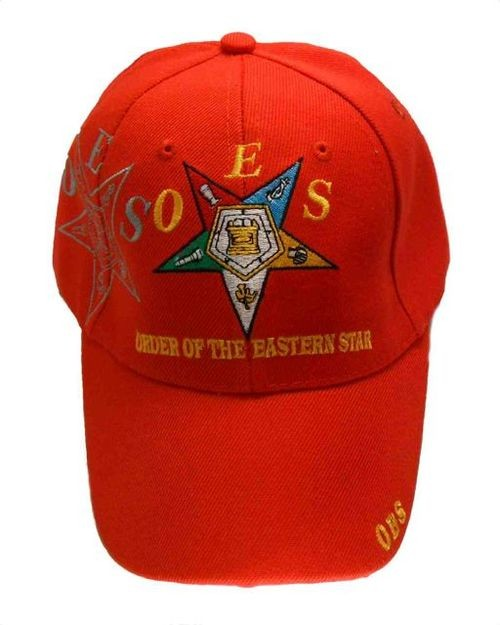 Order of the Eastern Star - Red Baseball Cap with...