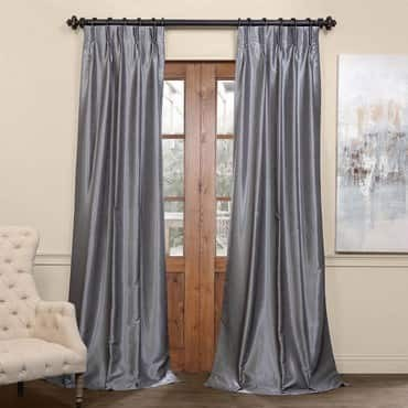 Storm Grey Blackout Vintage Textured Faux Dupioni...